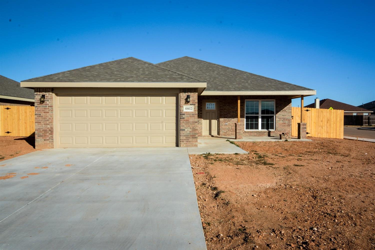 Great new construction 3 bed 2 bath 2 car garage deep soaker tub boxed ceilings granite kitchen stainless steel appliances.