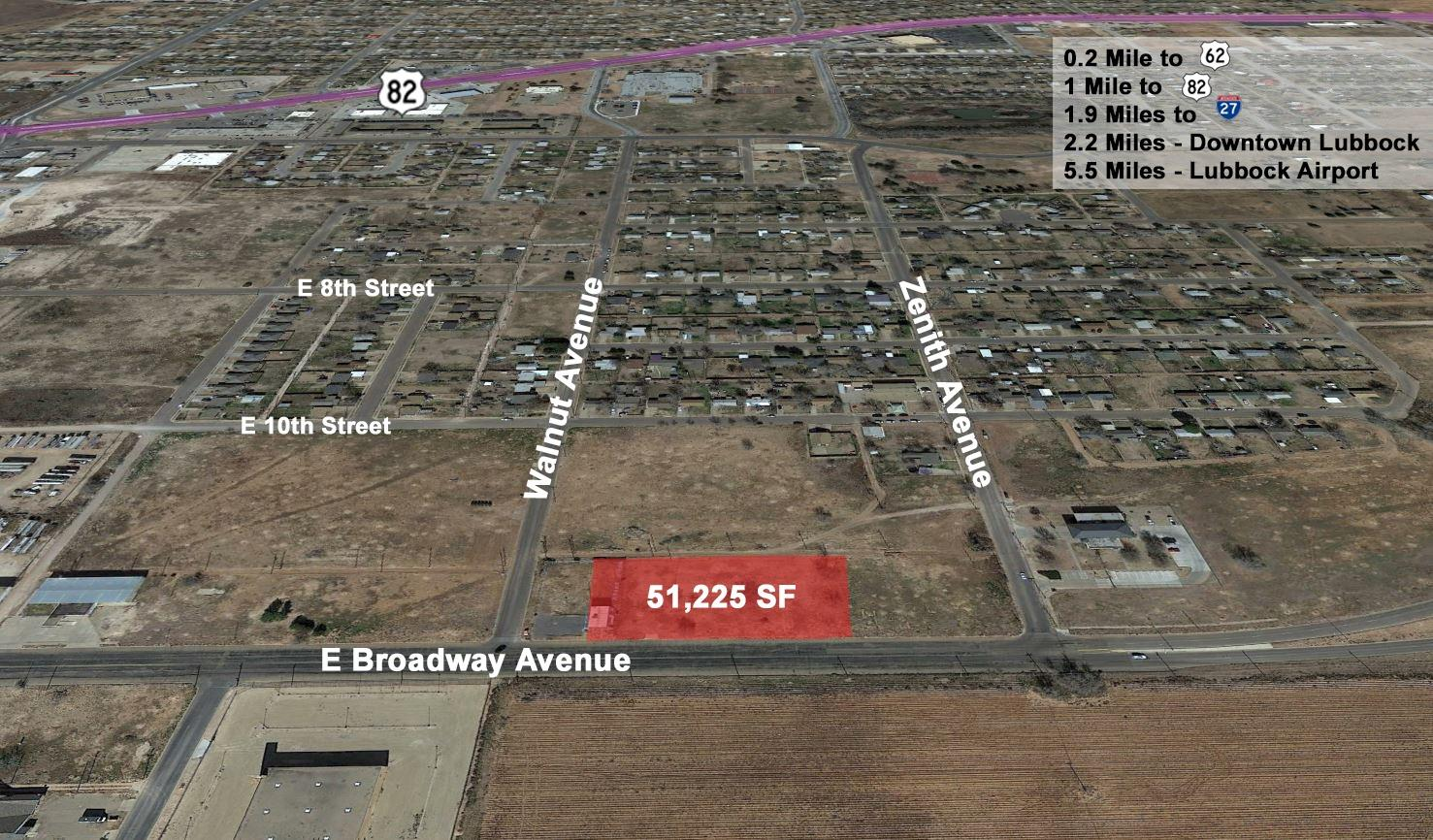 51,225 SF parcel of land available for sale. Just 3 Minutes From Downtown Lubbock; C-4 Zoning Allows for a Multitude of Uses; Market Lubbock East-Side; Grant Program Potentially Available to Offset Development Costs
