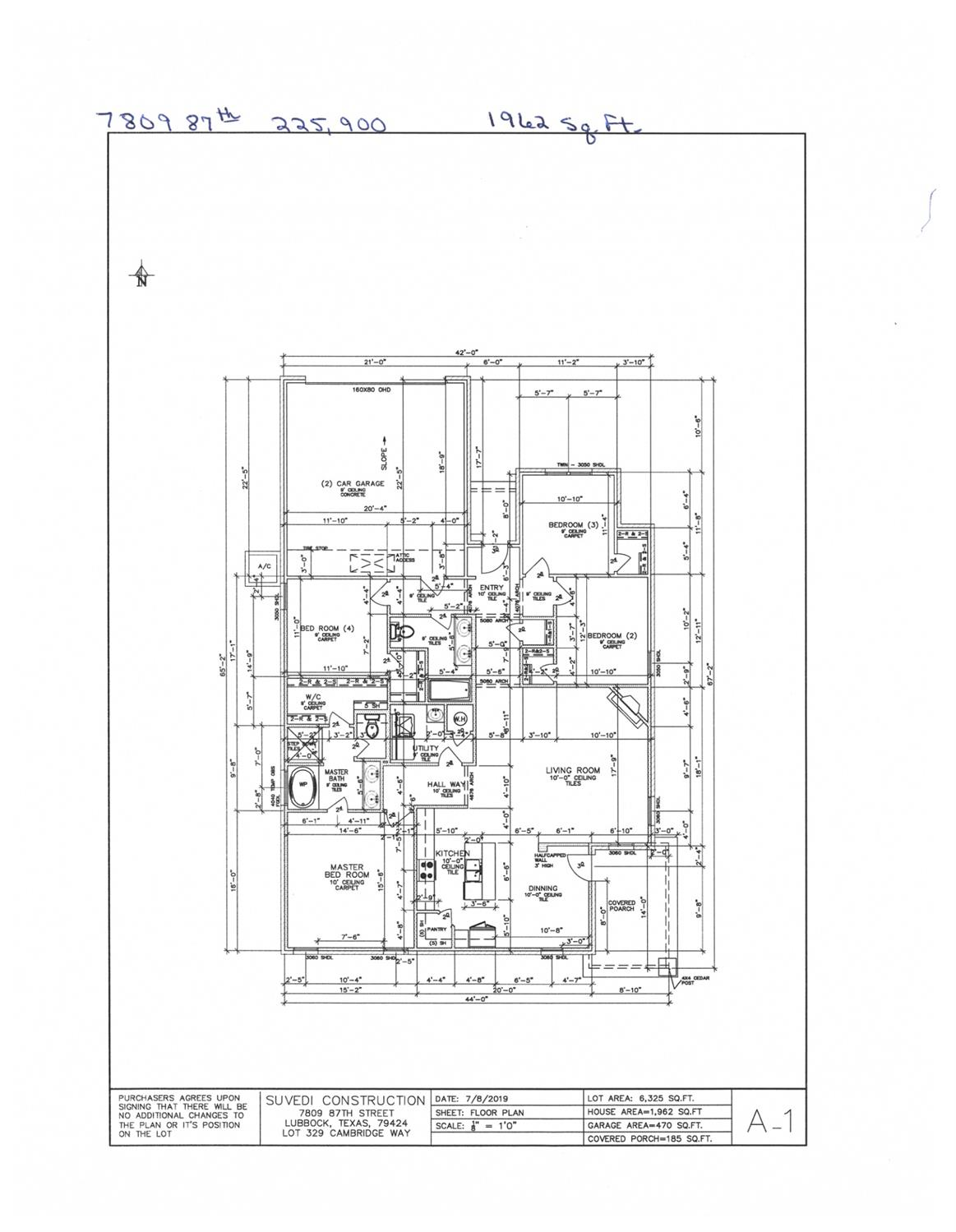 New Construction. 4/2/2, 1962 sq.ft. Estimated completion date 1/15/20.
