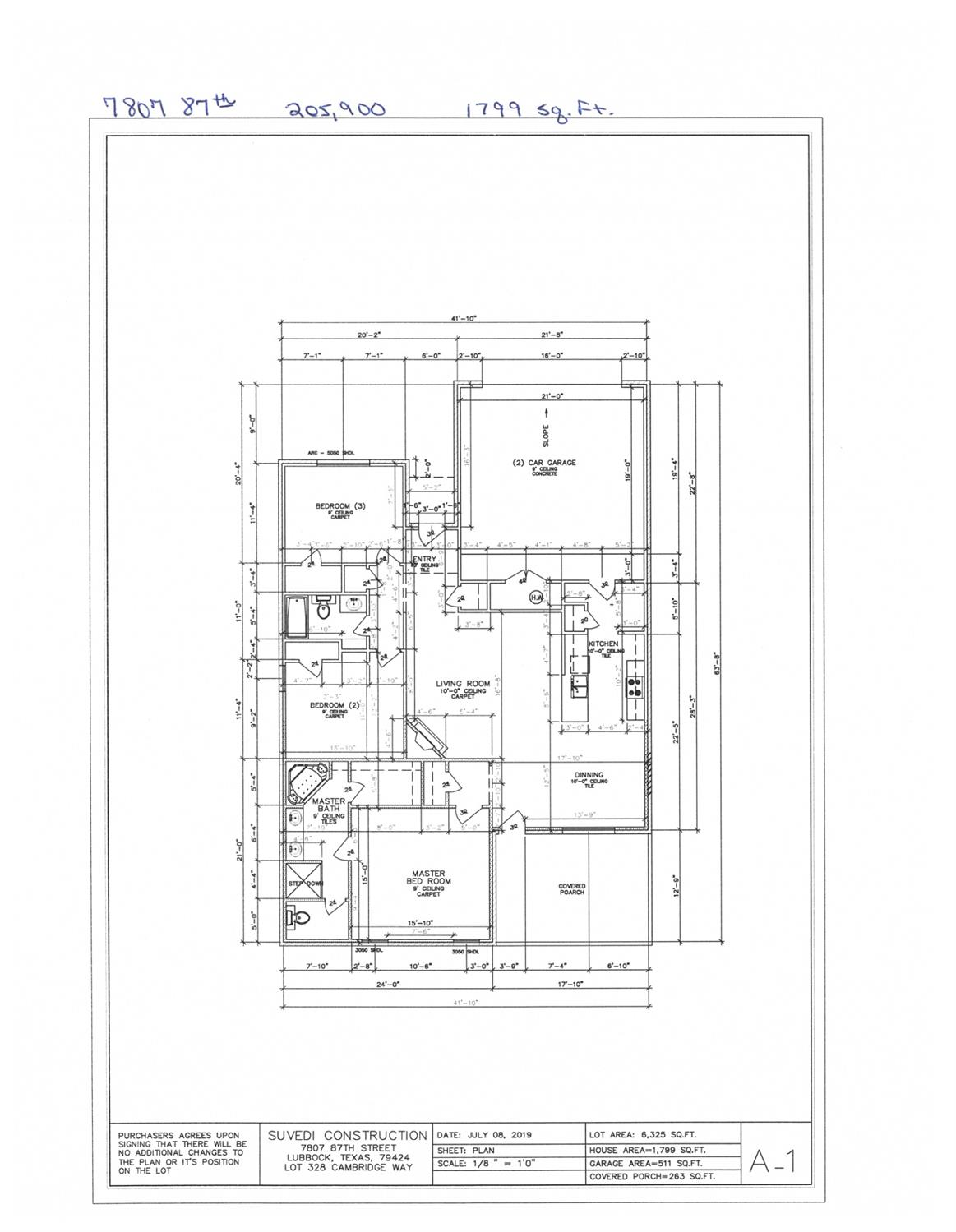 New construction. 3/2/2, 1799 sq.ft. Estimated completion date 01/20.