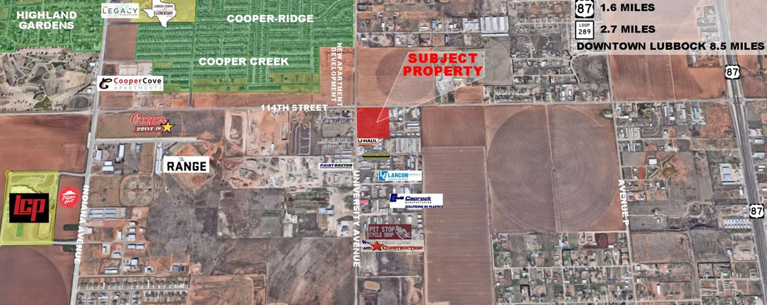 10 Acres of development land on the SEC of 114th Street and University Avenue. With new multi-family projects across the street and priced at only $3.25 PSF, this tract is an excellent opportunity for development in south Lubbock.