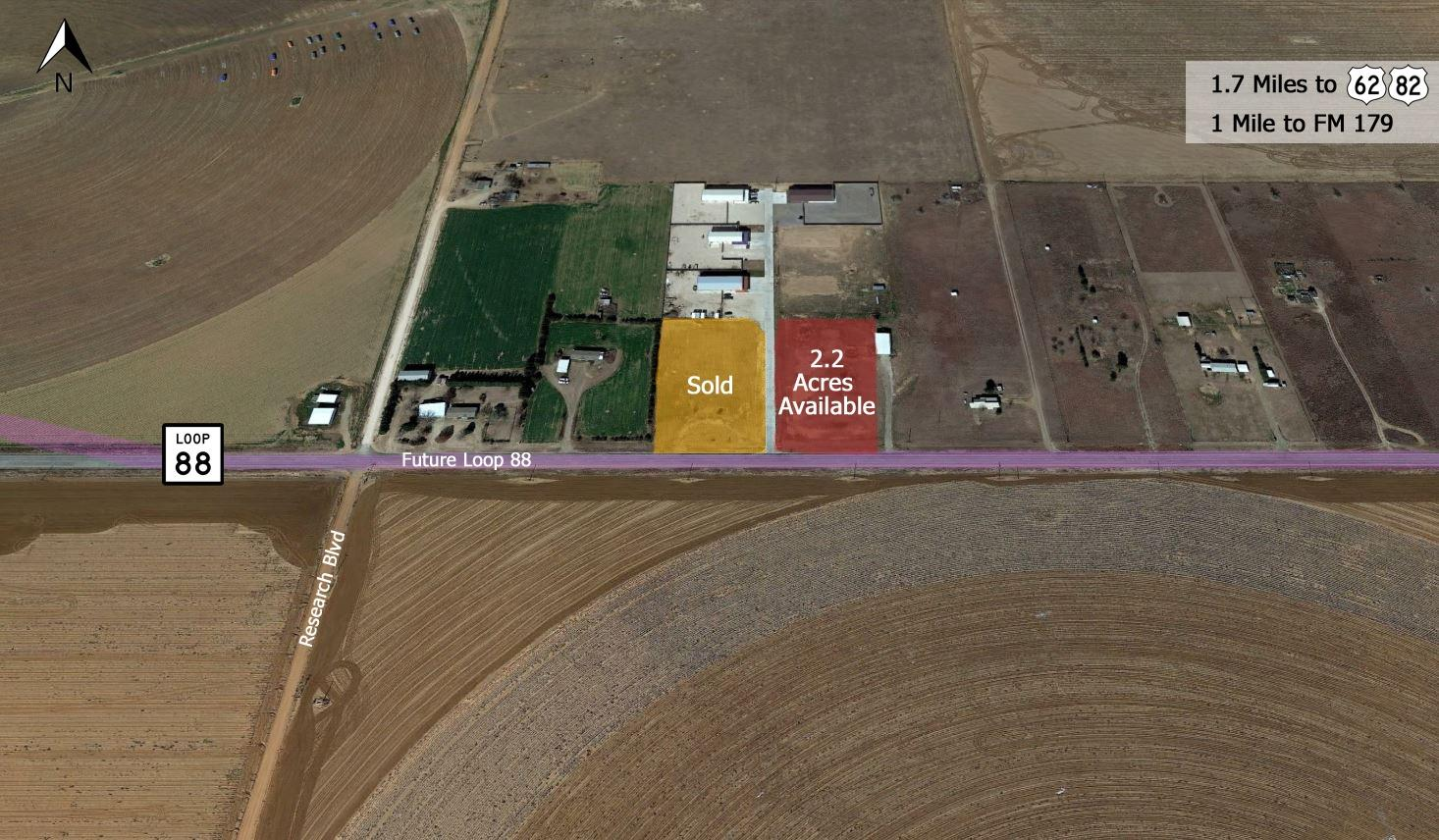 2.2 acres for sale, located in Business park.  Seller will provide up to 30,000 square feet, dock high build to suit.  Outside city limits.  +/- 249 Feet of Future Loop 88 Frontage; Less than 1 Mile From FM 179; Easy Access to Highway 62/82