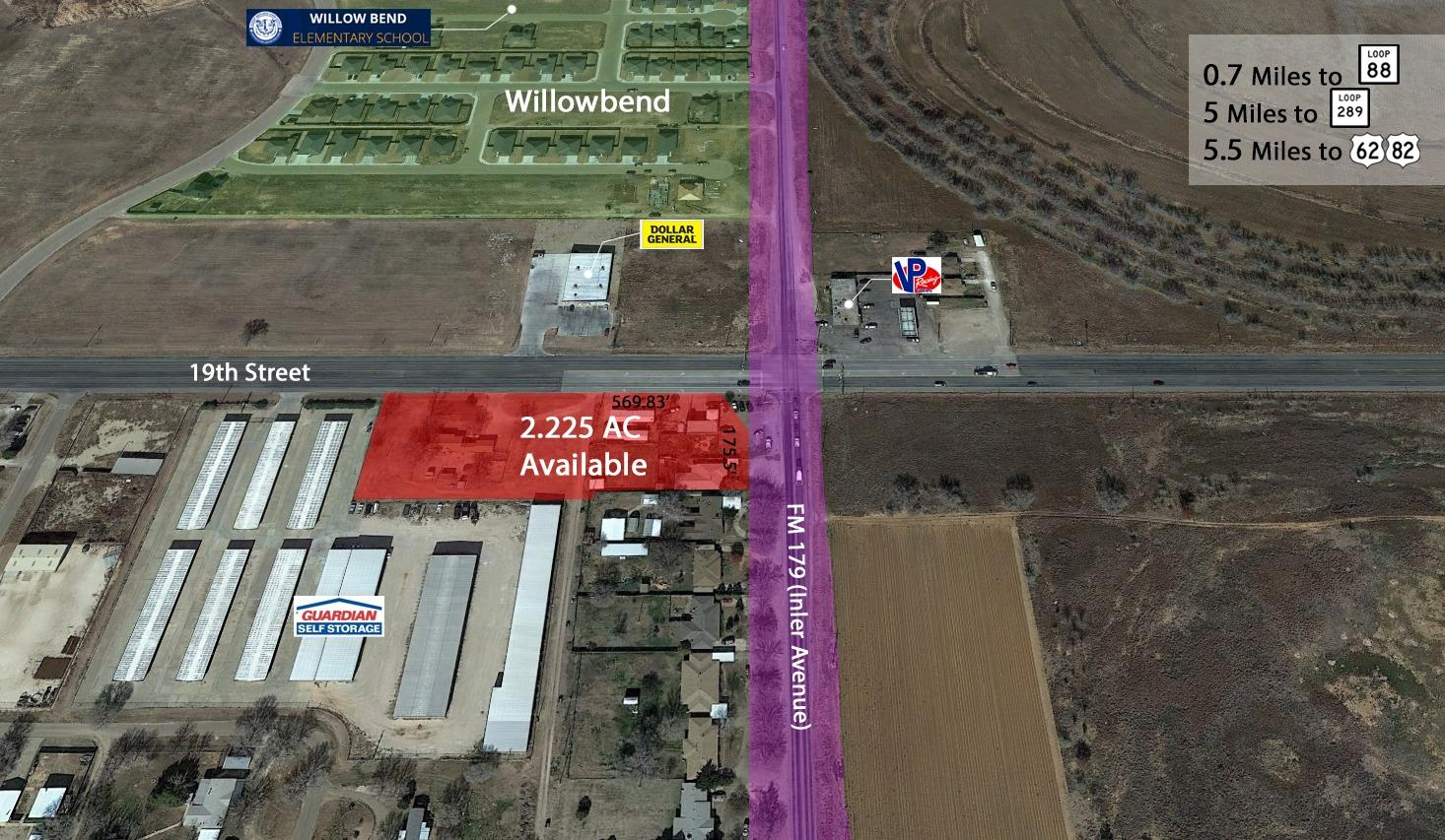 Re-development land available for sale. High traffic area between Shallowater and Wolfforth with over 15,000 vehicles per day.   Future Re-development Land  Inler Ave (FM 179) will be Widened to 7 Lanes  Includes 8701, 8703, 8707-19, & 1904 Inler Ave  1 Mile from Proposed Loop 88  High Traffic Area Between Shallowater Schools and Frenship Schools in Wolfforth