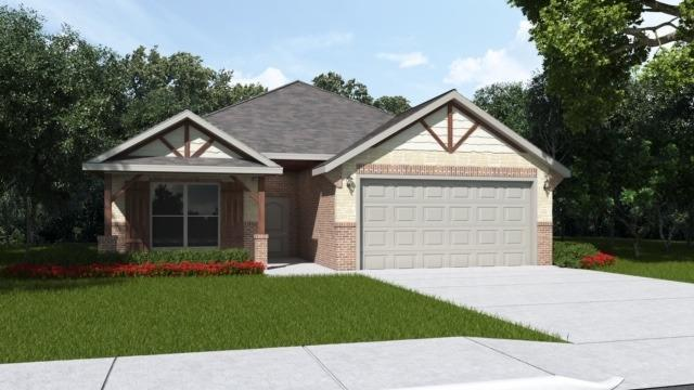 Brand new construction in Fox Ridge, Keighley plan, 3/2/2 open floor plan home, in a cul de sac, with nice living space and beautiful upgrades. Tall ceilings with exposed beams, granite counter tops, stainless steel appliances, freestanding gas range, and island perfect for food prep or entertaining. Home includes window coverings, fence, sod and sprinkler system.