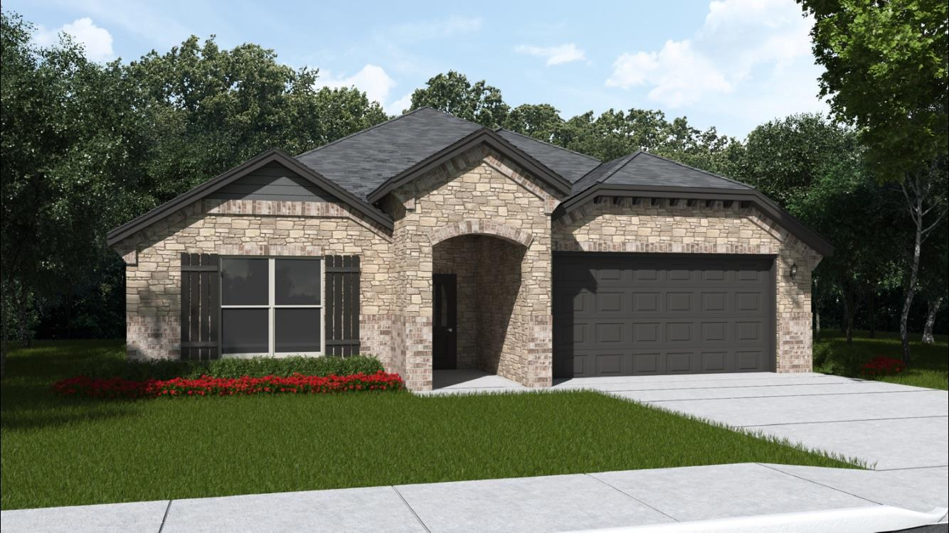 Brand new construction in Fox Ridge, Oxmoore plan, 3/2/2 open floor plan home, in a cul de sac, with nice living space and beautiful upgrades. Tall ceilings with exposed beams, granite counter tops, stainless steel appliances, freestanding gas range, and island perfect for food prep or entertaining. Home includes window coverings, fence, sod and sprinkler system.