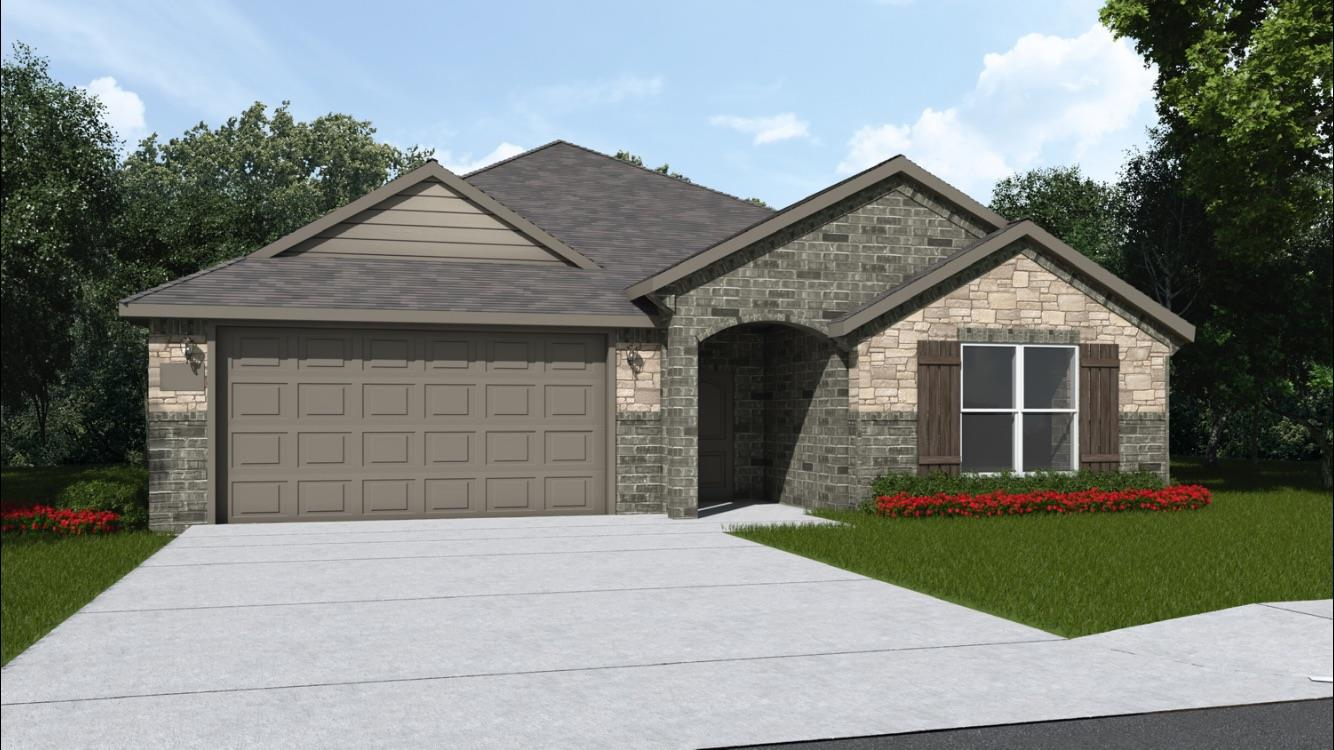 Brand new construction in Fox Ridge, Locksley plan, 3/2/2 open floor plan home, in a cul de sac, with nice living space and beautiful upgrades. Tall ceilings with exposed beams, granite counter tops, stainless steel appliances, freestanding gas range, and island perfect for food prep or entertaining. This home has a flex space or an office as well. Home includes window coverings, fence, sod and sprinkler system.Sod, Sprinkler, Fence & 2 Faux blinds included