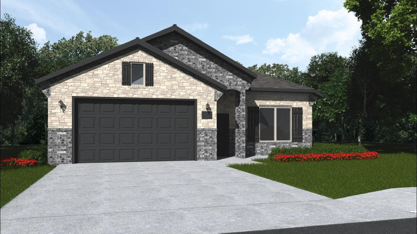 Brand new construction in Fox Ridge, Richland plan, 3/2/2 open floor plan home, in a cul de sac, with nice living space and beautiful upgrades. Tall ceilings with exposed beams, granite counter tops, stainless steel appliances, freestanding gas range, and island perfect for food prep or entertaining. This home has a flex space or an office as well. Home includes window coverings, fence, sod and sprinkler system. Sod, Sprinkler, Fence & 2 Faux blinds included. Finished Pics are of another similar completed home. Current pic #2 of actual house is as of 6/9/20.