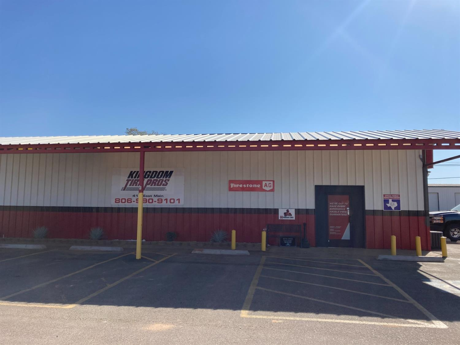 Commercial building located on East Main street in Post, Texas.  Includes reception area, office, rest room and large building with drive in stalls. Great location for any business.