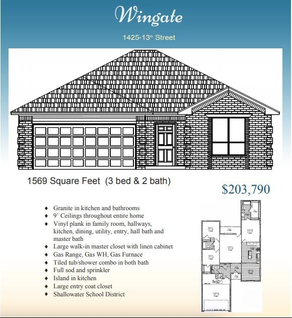Roten Home new construction 3 bedroom, 2 bathroom, and 2-car oversized garage home in new construction neighborhood. Built for comfort and style, this beautiful brick  home has an open concept with 9' ceilings throughout entire house. Located in Shallowater ISD, central to schools! Special features include: 6' cedar fence with metal posts, 7 foot tall windows, gas freestanding range, electric fireplace, sod and sprinkler in entire yard (will come later). Granite in kitchen and baths, 1 very large walk-around closet in master bedroom. walk-in pantry in kitchen. Open concept and large 2 car garage!