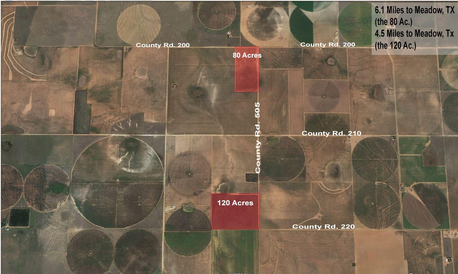 2 tracts of farm land. 120 acres of CRP and 80 acres of dry land farm. Sand loam soil Ag property. 10 minutes Northwest of Meadow, TX.  120 Acre Parcel  80 Acre Parcel   Sandy Loam Soil   In The Heart Of Terry County Farm Community  30 Minutes From The Lubbock City Limits.