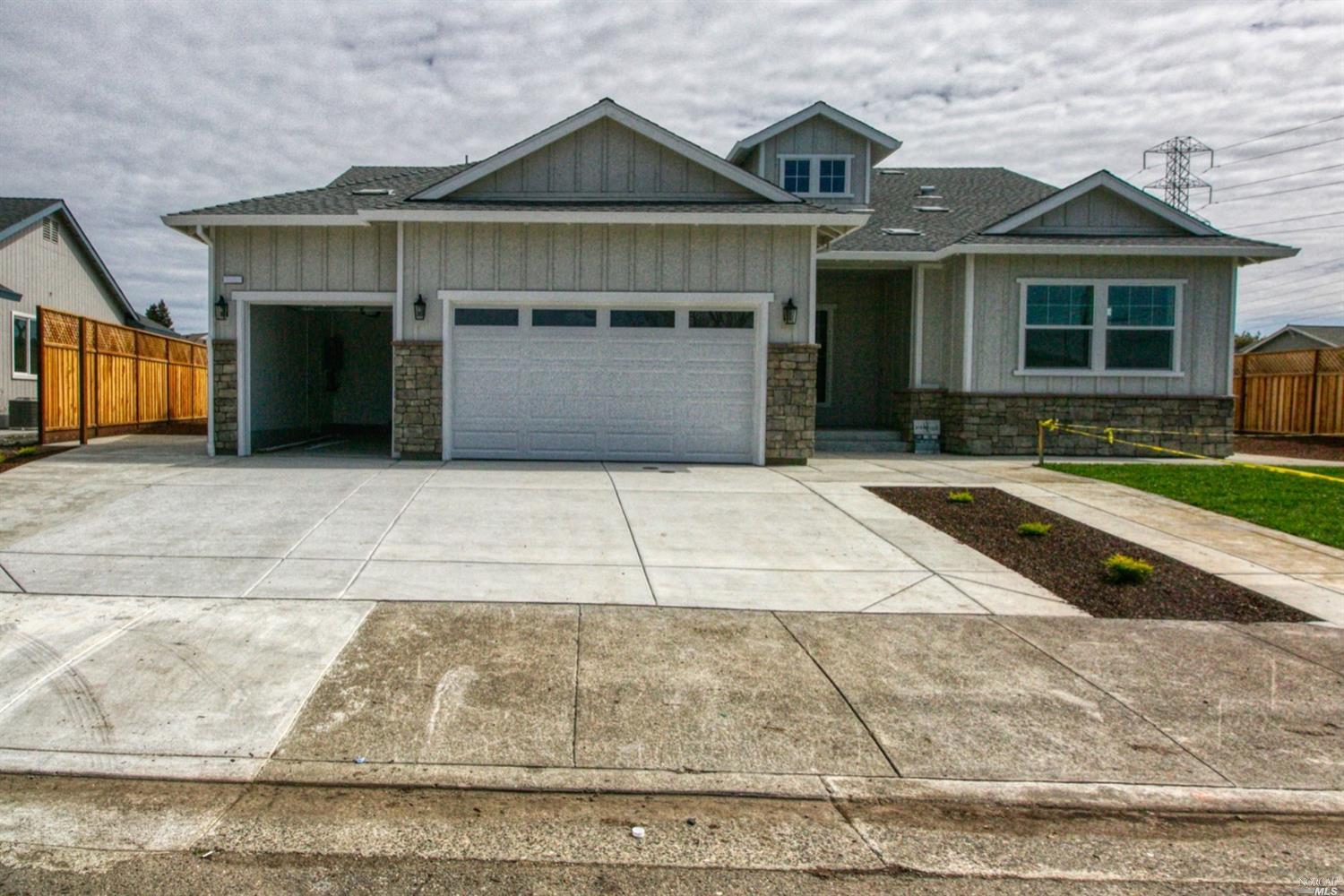 Beautiful new construction. Open floor plan. Four bedroom, two and a half bath. Master on opposite side of house from other bedrooms. Triple garage, large, partially fenced yard. Sorry, no pets.