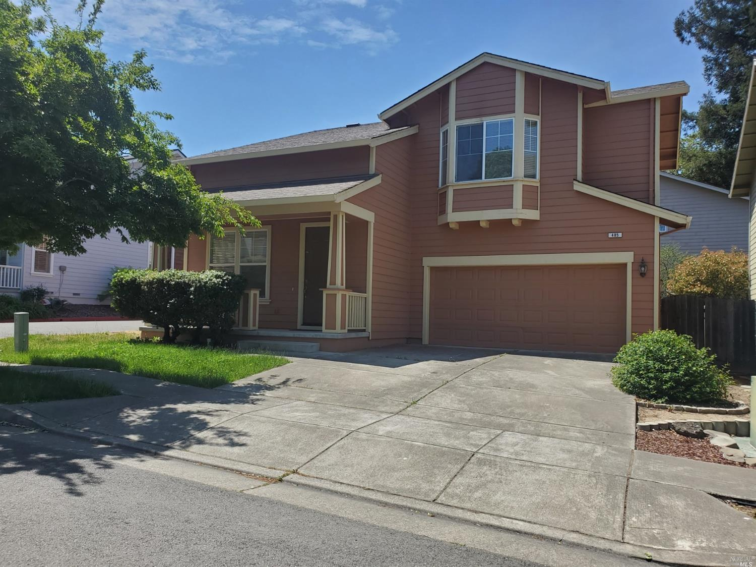 Come see this beautiful four bedroom home in Cotati.  Walk in to a large living room with formal dining space and chandelier lighting.  Kitchen comes with tiled countertops, gas stove, dishwasher and refrigerator.  Kitchen also features a breakfast nook area.  Family room has electric fireplace and glass slider that leads to backyard deck.  Upstairs is an amazing space with a loft sitting area and all four bedrooms.  Master bedroom comes with french doors, walk-in closet and private bathroom with dual sinks , separate tub and shower area.  Laundry room is located upstairs next to all bedrooms.  Backyard comes with wood deck, side cement patio and grass area.  Two car garage.  Landscaping not included.  No A/C.  Small dog possible 25lbs limit with additional deposit.