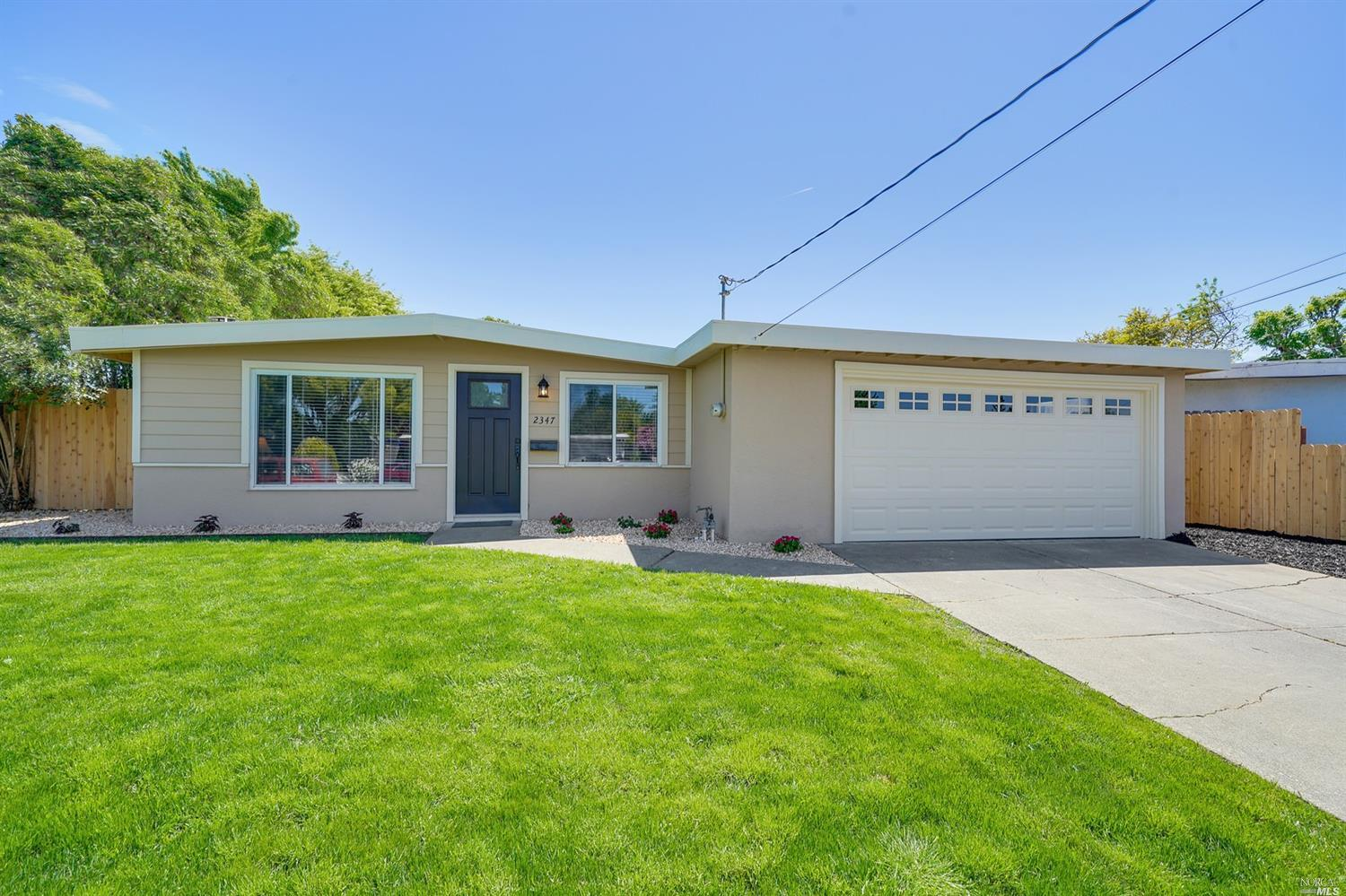 Affordable Living in The Napa Valley!  Completely Remodeled Mid-Century Modern. This Single-Story home is Turn Key. Energy Efficient Multi-Zone Air Conditioner/HeaterSystem installed in every room for your comfort. Kitchen features custom White Shaker Soft-Close cabinets, quarts counters, stainless- steel appliances and an additional pantry that offers Lots of Extra Storage for all your Gourmet Cooking needs! You will appreciate the high-end details this home offers including the open beam ceiling, bronze hardware throughout, stylish rustic grey'' wide plank floors with 5 1/2inch baseboards. So Pretty! Out back has a covered patio and a spacious yard to play and entertain with a new fence and fresh landscape.  So many Great Features and Upd