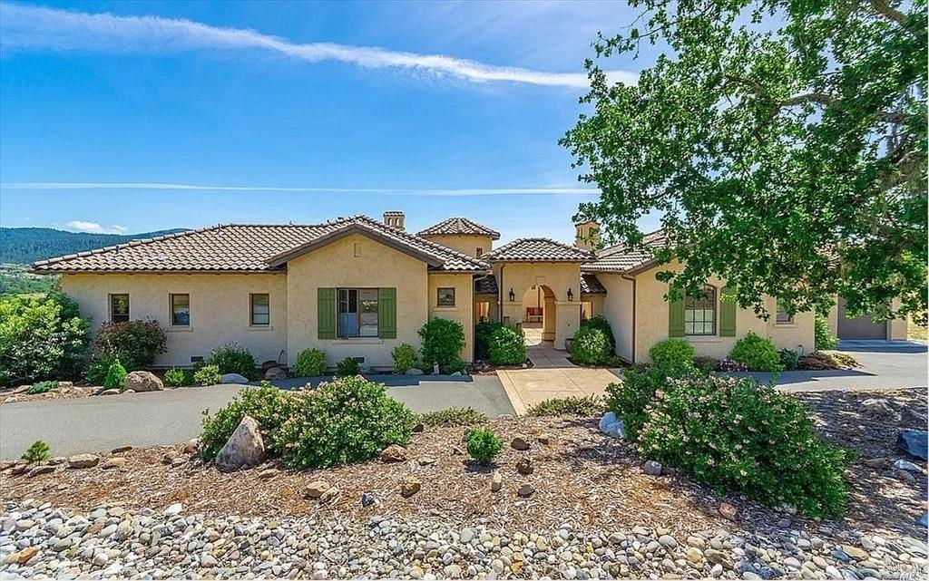 Spectacular NEW single level Tuscan-style home. Stunning architecture. 2 master bedrooms + bunkroom + office + media room. Captivating, ridge top views of vineyards, forested hills and sunsets. Old world charm in a beautiful country setting. Dramatic 845 sq.ft Great Room with gourmet kitchen, 16 ft. ceilings, Nearly 1200 sq. feet of outdoor entertaining area. Short drive to Kenwood, Glen Ellen & Santa Rosa services. Must be seen to be appreciated. RECENTLY PAINTED AND FURNISHED W SERENA & LILY