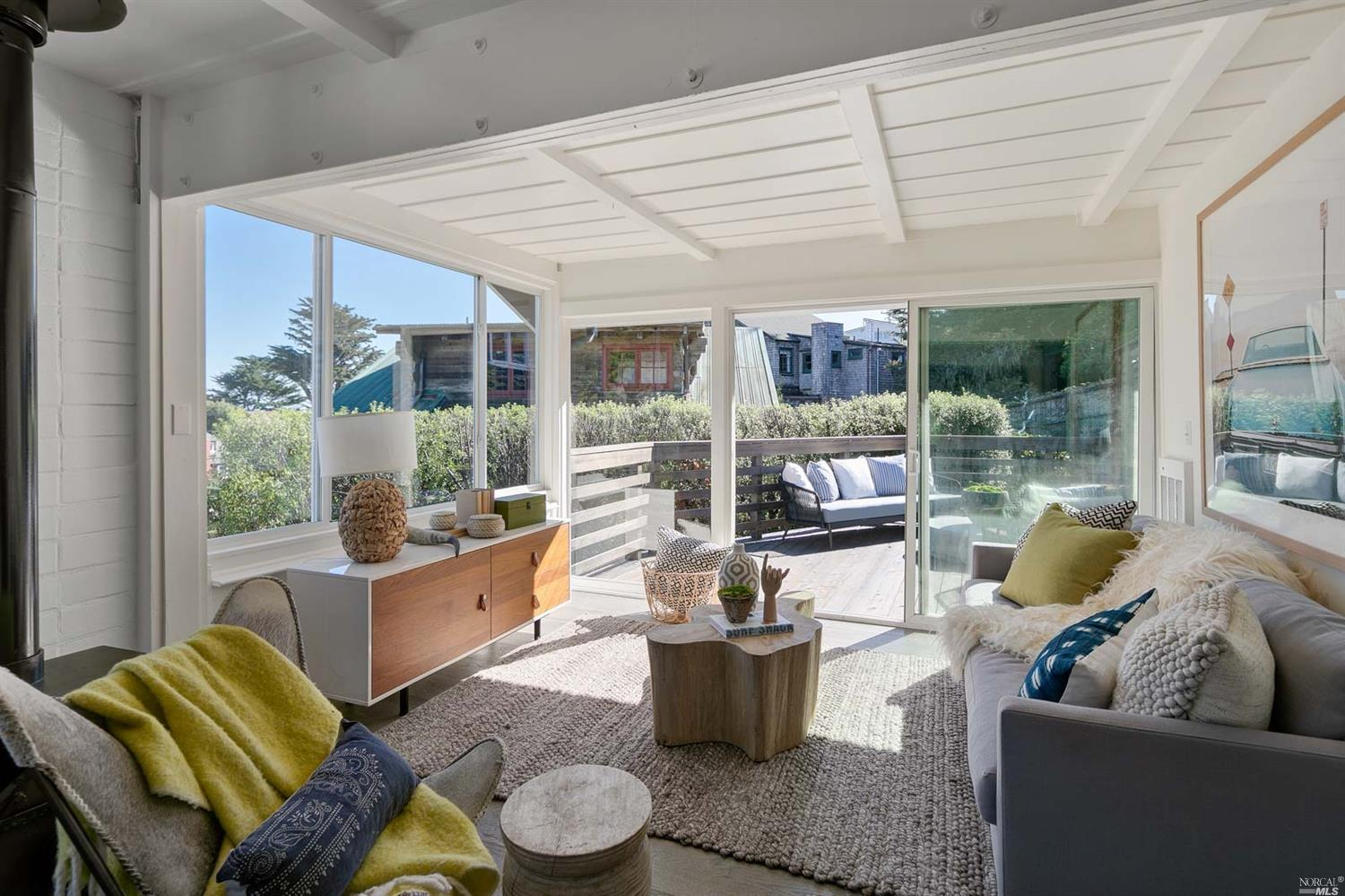 The Ultimate Bolinas Surf Shack hits the market for the first time in 30+ years!  Hidden in the secret, bohemian community of Bolinas is this Surfer's dream home.  Just steps to the Hawaii-esque break of Brighton Beach, this home and its location are like no other.  The main house features 3 bedrooms with a remodeled kitchen and 2 updated baths.  This quintessential bohemian bungalow comes with a centerpiece Franklin fireplace in the main living room with direct views of the beach.  You will love the indoor-outdoor vibe with its extra-large, southeast facing sky deck.  The home also includes an artisan guest studio with kitchenette, full bath, private deck, and herb garden.  Sitting on an exceptionally large corner lot, you are walking distance to town and to the beach.  Aloha!