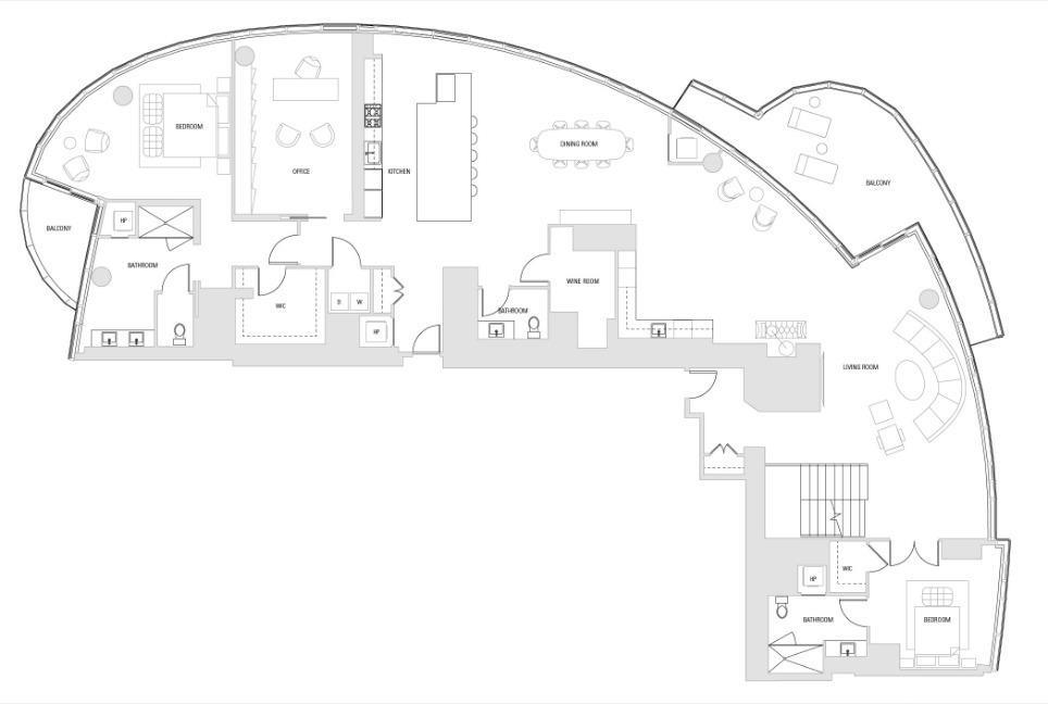 Main Level - This is a conceptual drawing designed by Arquitectonica to demonstrate the space.