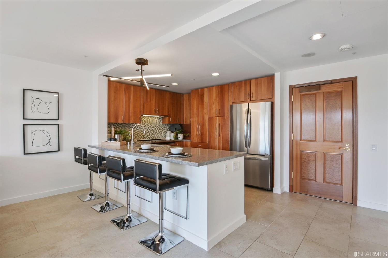 Kitchen has quartz countertops