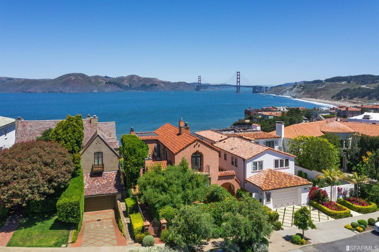 Exquisite, beautifully renovated Spanish Mediterranean residence with a modern aesthetic situated in San Francisco's stunning &a
